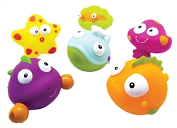 BRIGHT and FUN Set of 6 Baby and Toddler Ocean Animal Bath Squirter Toys